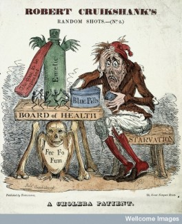 L0003051 A cholera patient experimenting with remedies. Coloured