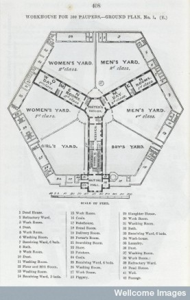 L0046484 Workhouse for 300 paupers - ground plan